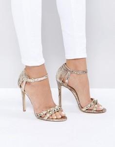 Босоножки металлик на каблуке с заклепками New Look - Золотой