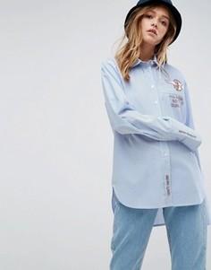 Рубашка в полоску с вышивкой ASOS x Lot Stock - Мульти