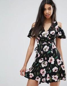 Платье с запахом и цветочным принтом Boohoo - Мульти