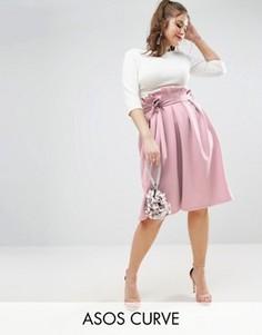 Юбка для выпускного со свободной талией ASOS CURVE Scuba - Розовый