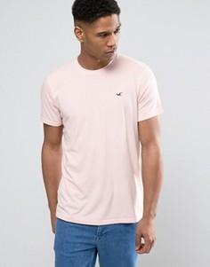 Розовая узкая футболка с логотипом Hollister Must Have - Розовый