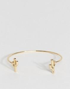 Незамкнутый браслет-манжета с кактусами ASOS - Золотой