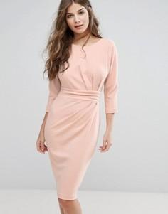 Платье-футляр с рукавами 3/4 и отделкой на талии City Goddess - Бежевый