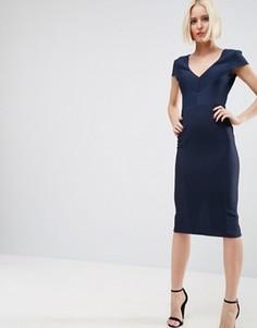 Облегающее структурированное платье миди в рубчик с V-образным вырезом ASOS - Темно-синий