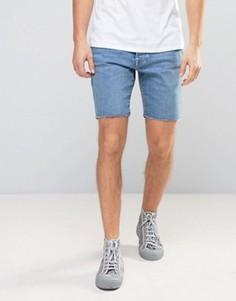 Джинсовые шорты слим с необработанным краем Selected Homme - Синий
