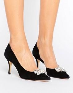 Замшевые туфли-лодочки с камнями Dune Tia - Черный