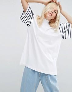 Свободная футболка с принтом в полоску на рукавах ASOS WHITE - Белый