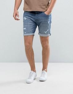 Джинсовые шорты с рваной отделкой и заплатками Selected Homme - Синий