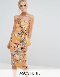 Платье миди бандо с цветочным принтом ASOS PETITE - Желтый