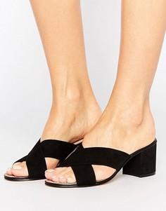 Замшевые сабо на среднем каблуке с ремешками накрест Dune Junipar - Черный