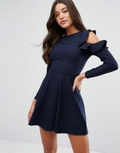 Короткое приталенное платье с оборками на рукавах Lipsy - Темно-синий