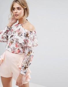 Топ с открытыми плечами, оборками и цветочным принтом Boohoo - Мульти
