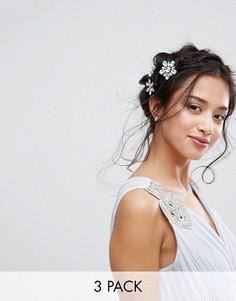 3 заколки для волос с цветочной отделкой и стразами True Decadence - Серебряный