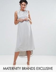 Платье без рукавов с асимметричным краем Maya Maternity - Серый