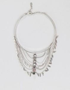 Многорядное ожерелье с полудрагоценными камнями ALDO - Серебряный