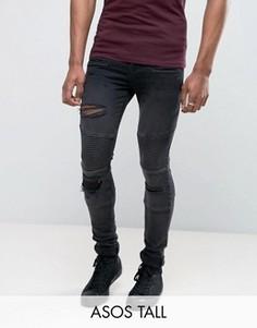 Супероблегающие рваные джинсы в байкерском стиле ASOS TALL - Черный
