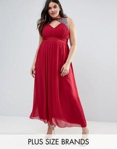 Платье макси с разрезом сбоку и декоративной отделкой Little Mistress Plus - Красный