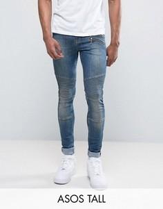 Супероблегающие джинсы с двумя молниями и байкерской отделкой ASOS TALL - Синий