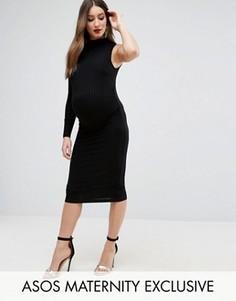 Платье в рубчик с одним рукавом ASOS Maternity - Синий