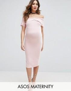 Платье миди с открытыми плечами и перекрестной отделкой спереди ASOS Maternity - Розовый