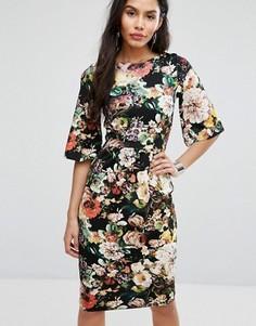 Платье-футляр миди с цветочным принтом Closet London - Мульти