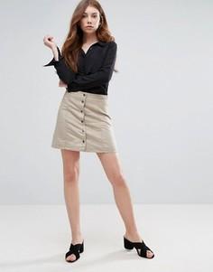 Мини-юбка на пуговицах спереди Vero Moda - Серый