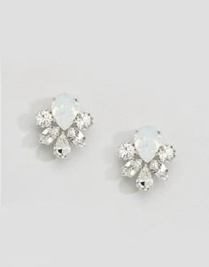 Серьги-подвески с кристаллами Swarovski от Krystal London - Серебряный