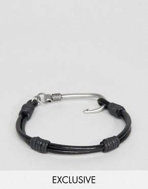 Черный кожаный браслет с крюком Seven London - Черный