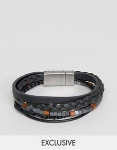 Черный кожаный браслет с бусинами Seven London - Черный