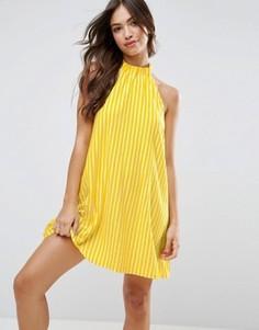 Свободное летнее платье в полоску с лямкой через шею ASOS - Мульти