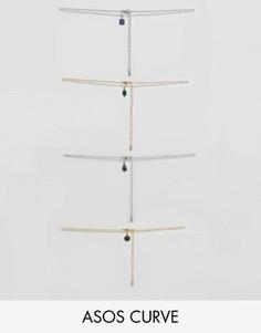 4 ожерелья-чокер с подвеской-камнем ASOS CURVE - Мульти