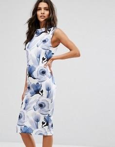 Платье миди с цветочным принтом Unique 21 - Темно-синий