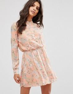 Чайное платье с цветочным принтом и складками Unique 21 - Оранжевый