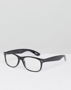 Солнцезащитные очки в квадратной оправе с прозрачными стеклами ASOS - Черный
