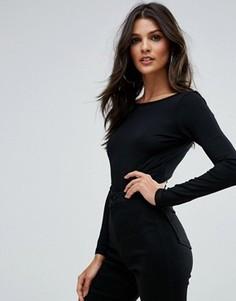 Боди с овальным вырезом на спине, длинными рукавами высоким вырезом по бедру в стиле 80-х ASOS - Черный
