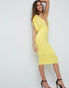Асимметричное платье миди с одним рукавом ASOS NIGHT - Желтый