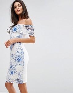 Кружевное платье-футляр с открытыми плечами и принтом Michelle Keegan Loves Lipsy - Мульти