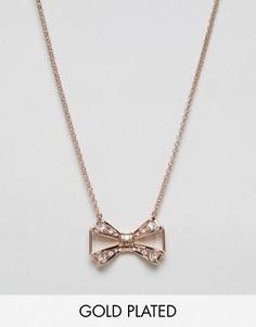 Ожерелье с подвеской в виде банта с камнями Ted Baker - Золотой