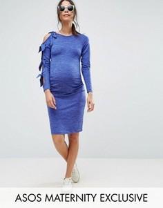 Облегающее платье с узелком ASOS Maternity - Синий