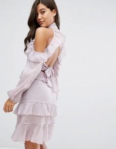 Платье миди с рюшами и открытой спиной Dark Pink - Фиолетовый