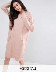 Платье с V-образным вырезом и карманами ASOS TALL LOUNGE - Розовый