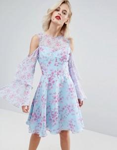 Шифоновое платье миди с цветочным принтом Horrockses - Мульти