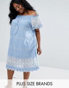 Платье с широким вырезом и вышивкой Alice & You - Синий