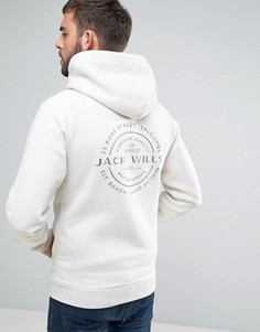 Белый меланжевый худи на молнии с принтом на спине Jack Wills Ederton - Белый