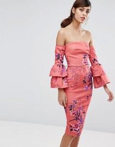 Платье-футляр миди с рюшами на рукавах True Violet - Мульти