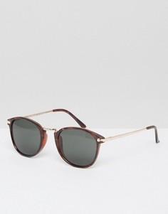 Круглые солнцезащитные очки в черепаховой оправе A J Morgan - Коричневый