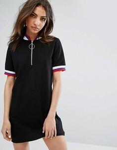 Платье мини с молнией до груди и отделкой в рубчик Daisy Street - Черный