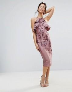 Платье-футляр с оборкой и вырезом на спине Hope & Ivy - Фиолетовый