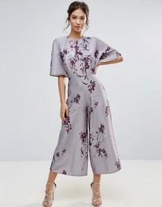 Комбинезон с рукавами-кимоно и принтом Hope & Ivy - Серый