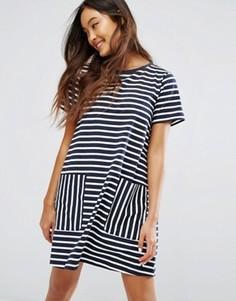 Oversize-платье в полоску с карманами Jack Wills - Темно-синий